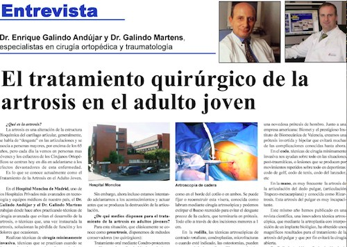 Diario La Gaceta. Tratamiento de la artrosis en el adulto joven